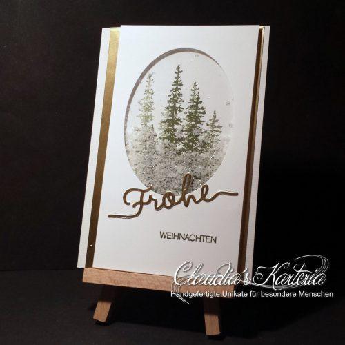 Frohe Weihnachten Schneefenster | Weinachtskarte