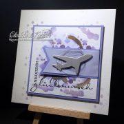 Flugzeug auf Aquarell violett | Geburtstagskarte