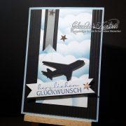 Flugzeug auf Wolkenhimmel | Geburtstagskarte