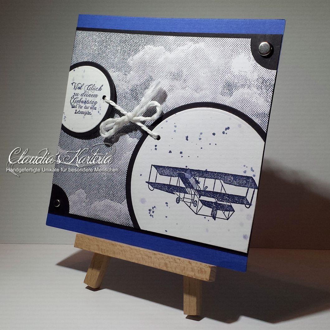 vintage flugzeug blau schwarz geburtstagskarte claudia. Black Bedroom Furniture Sets. Home Design Ideas