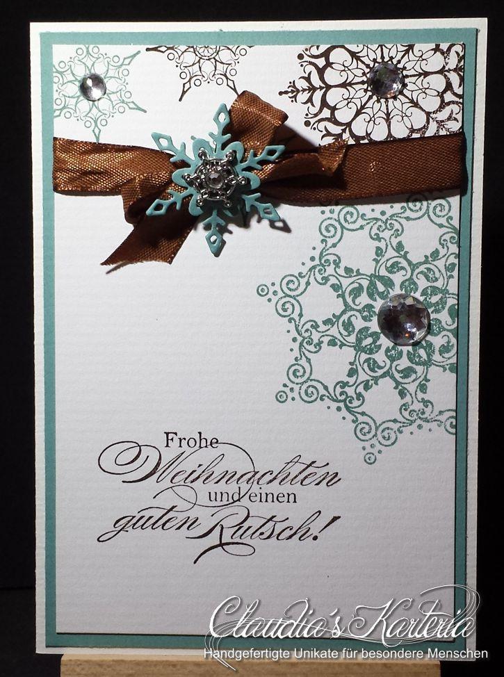 Frohe Weihnachten Band.Frohe Weihnachten Schneeflocke Auf Band Weihnachtskarte