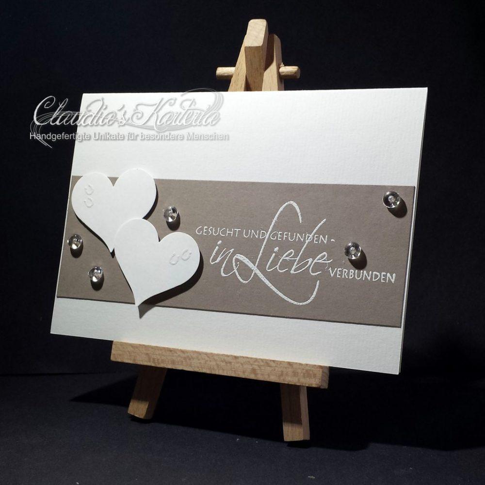In Liebe verbunden auf taupe | Hochzeitskarte