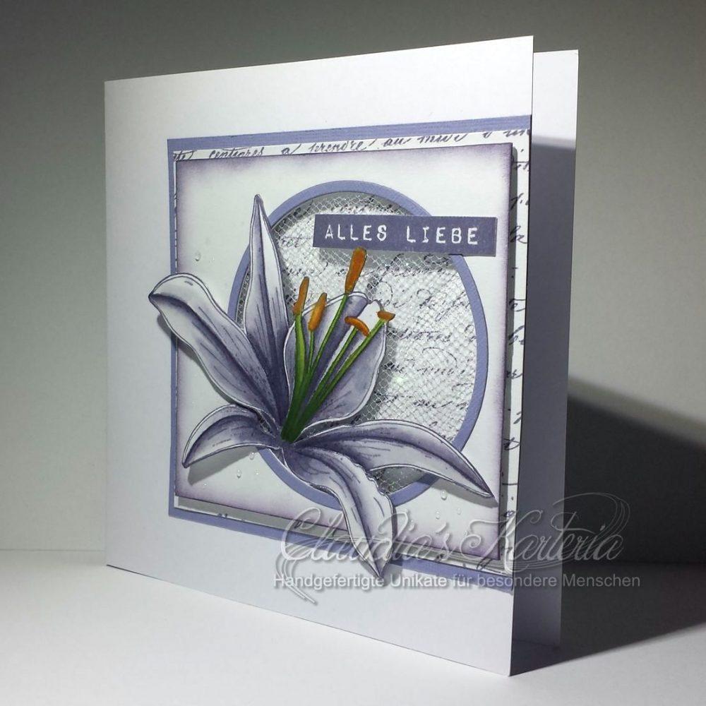 Lilie auf Glittertüll | Glückwunschkarte