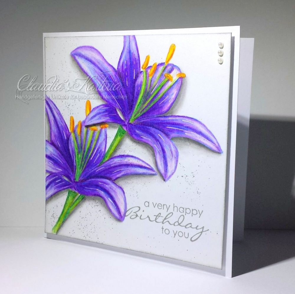 Lilientraum in violett | Geburtstagskarte