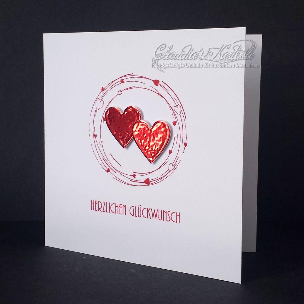 Metallische Herzen - rot | Hochzeitskarte