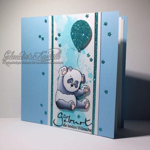 Zur Geburt ein Baby-Panda in blau | Geburtskarte