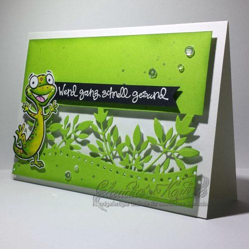 Salamanderische Genesungsgrüsse grün | Gute Besserungskarte