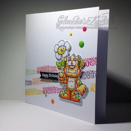 Klitzekleine Monstergrüsse orange-bunt | Geburtstagskarte