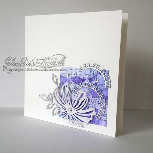 Poppy auf Aquarell violett | Geburtstagskarte