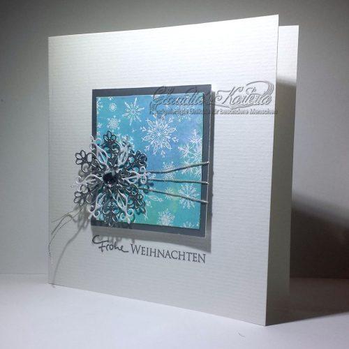 Frohe Weihnachten mit edler Schneeflocke | Weihnachtskarte