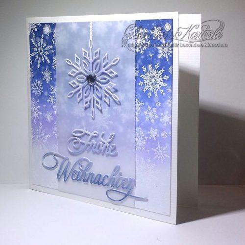 Frohe Weihnachten Schneeflocken auf Bokeh | Weihnachtskarte