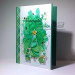 Trendiger Tannenbaum auf Aquarell | Weihnachtskarte
