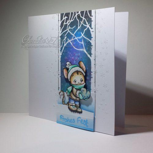 Frohes Fest mit Schneeherz - blau | Weihnachtskarte