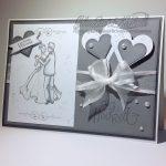 Beste Wünsche zur Hochzeit mit Brautpaar - grau-weiss | Hochzeitskarte