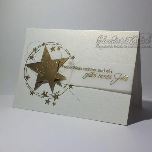 Frohe Weihnachten Glitzersternkreis creme-gold | Weihnachtskarte