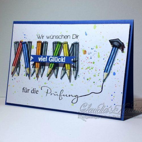 Bunte Stifte zur Prüfung - blau/bunt | Glückwunschkarte