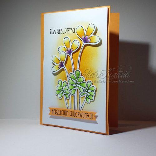 Blumen-Glückwünsche in orange | Geburtstagskarte