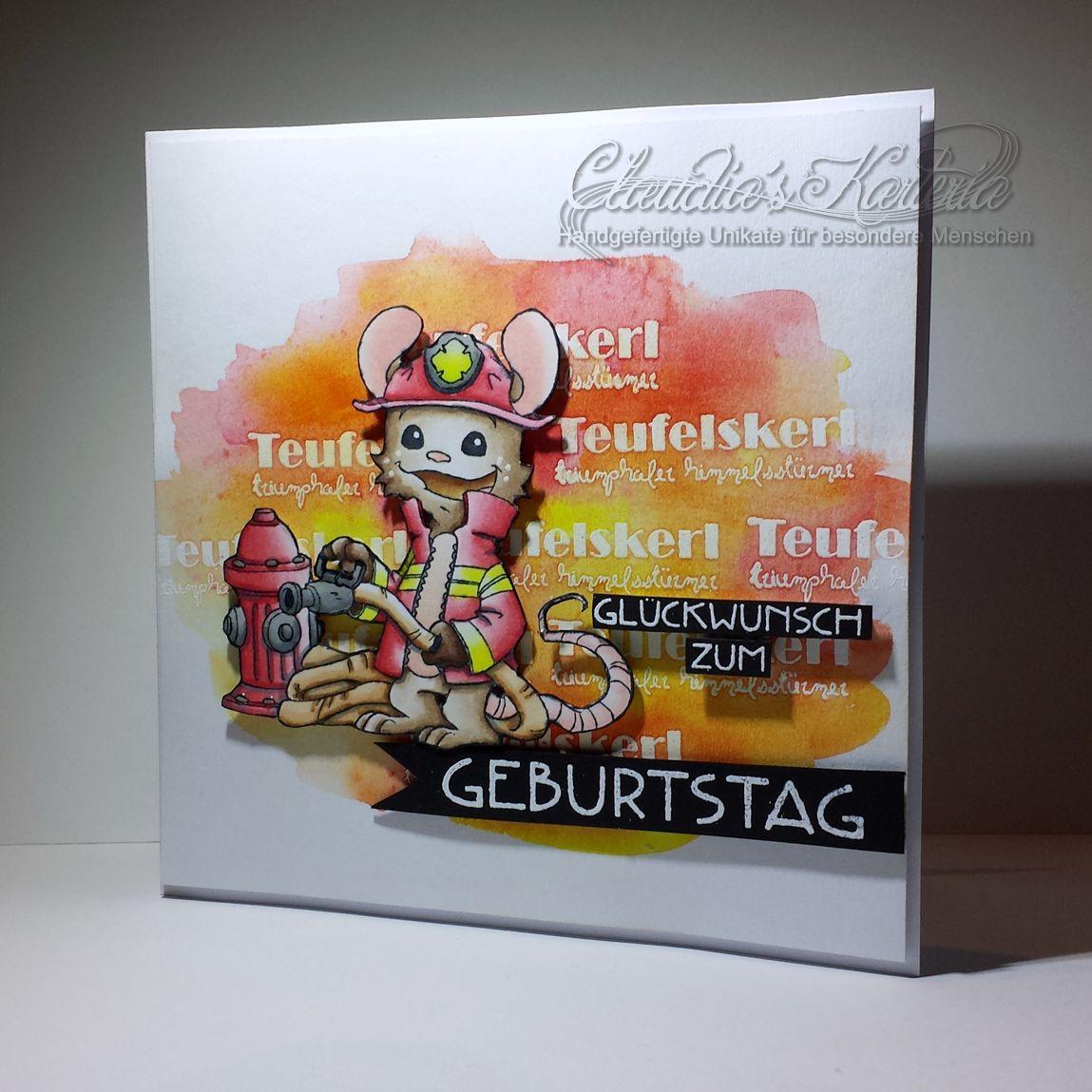 Feurige Geburtstagsgrüsse rot/orange   Geburtstagskarte