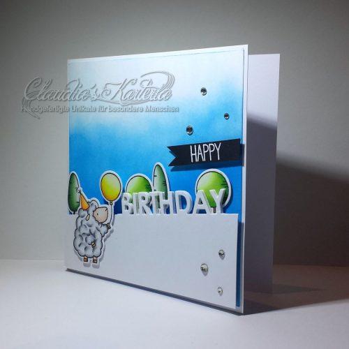 Ballonschäfchen am Geburtstagshügel | Geburtstagskarte