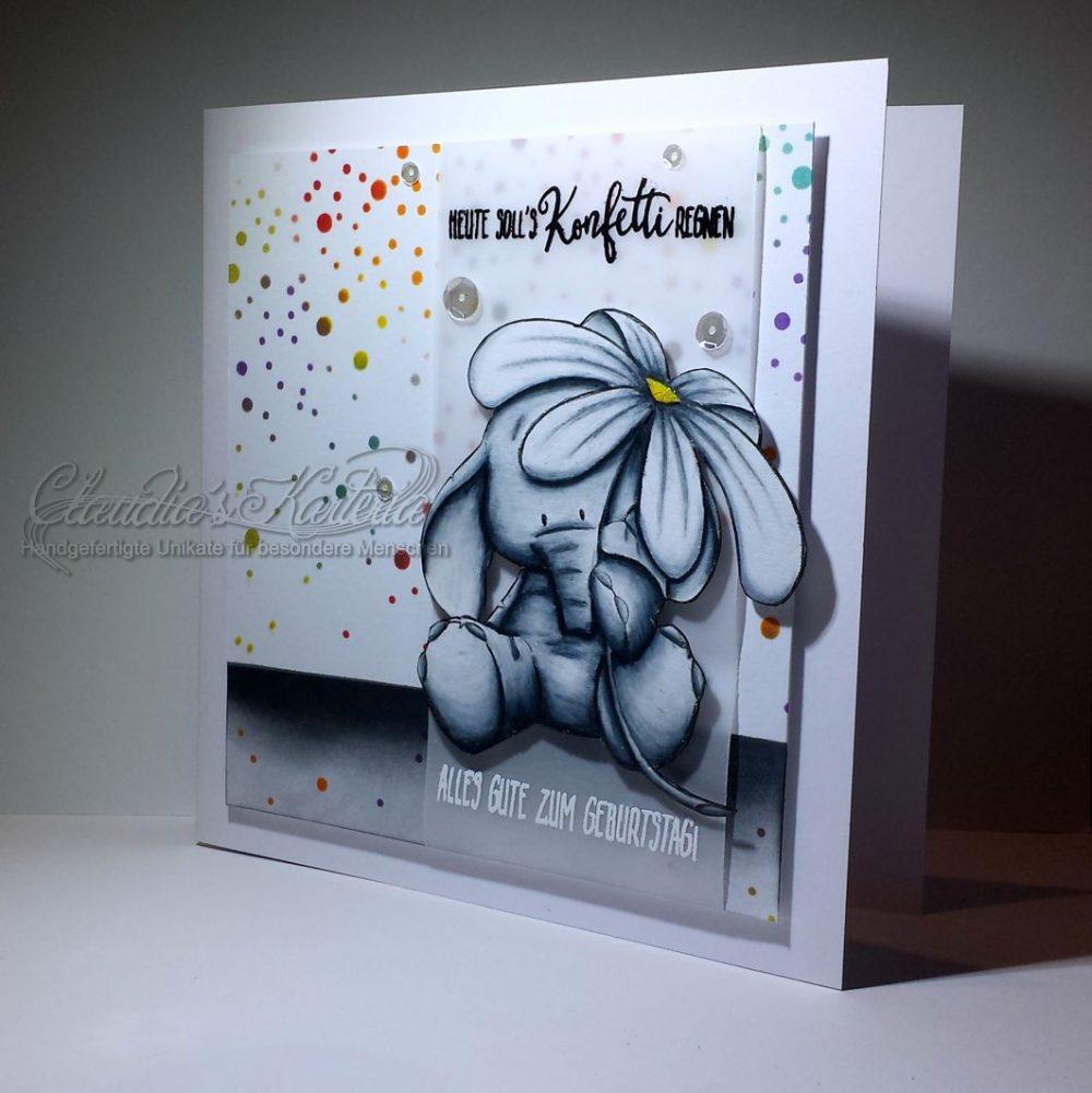 Blümchen-Elefant auf Konfettiregen | Geburtstagskarte