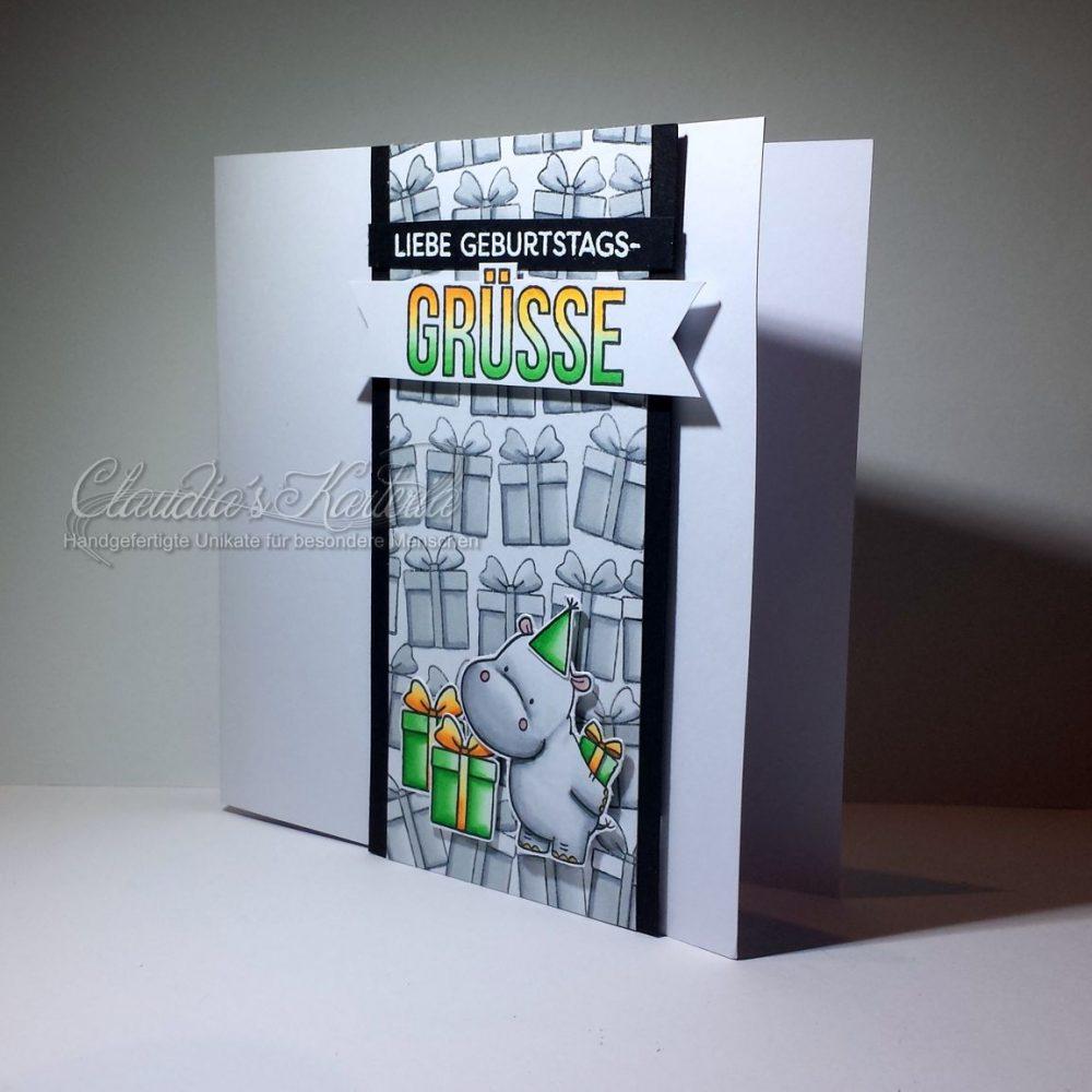 Hippo im Geschenke-Meer grau/grün/orange  Geburtstagskarte