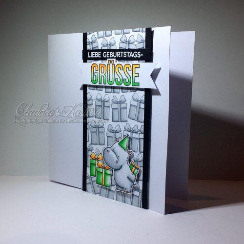 Hippo im Geschenke-Meer grau/grün/orange| Geburtstagskarte