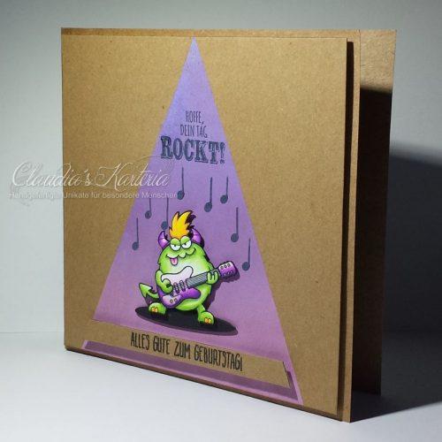 Rockiges Monster im Rampenlicht | Geburtstagskarte