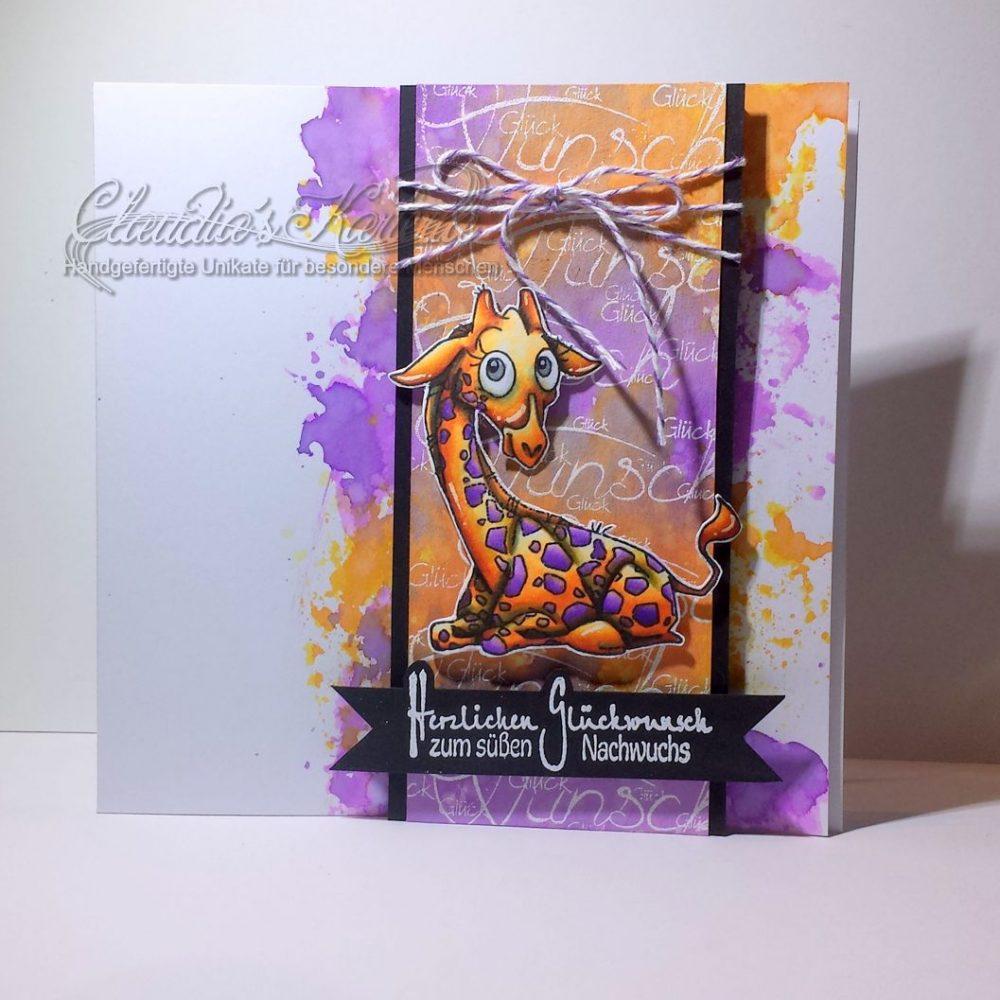 Baby-Giraffe meets Aquarell violett-orange | Geburtskarte