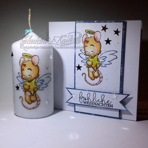 Romantischer Weihnachtsstern-Engel | Weihnachtskarte & Kerze (Set)