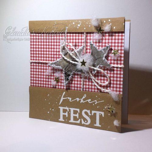 Sternenpaket Rustico auf rotem Karo | Weihnachtsfest
