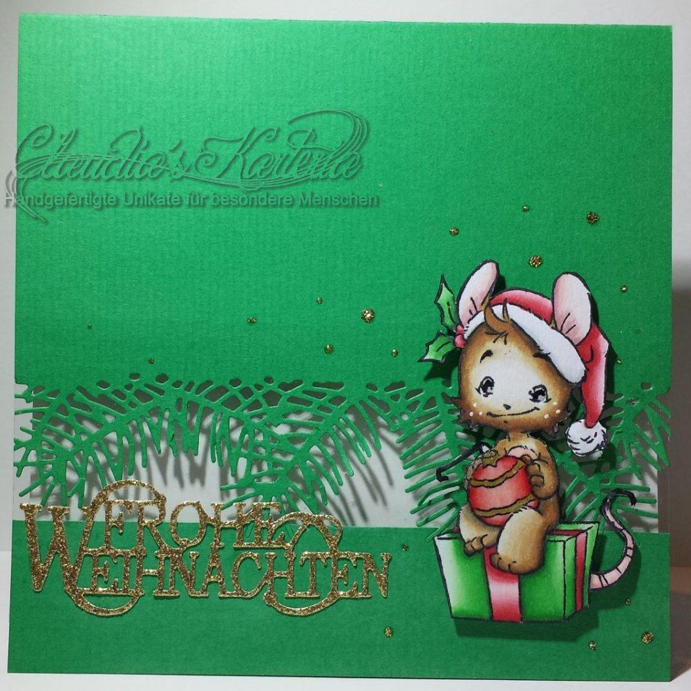 Geschenk-Maus auf Tannenzweigen | Weihnachtskarte