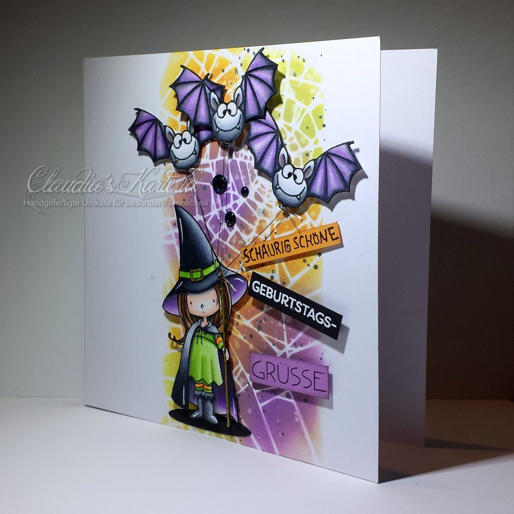 Schaurig schöne Hexe mit Fledermaus-Ballonen | Geburtstagskarte