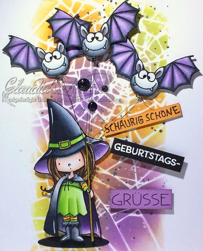 Schaurig schöne Hexe mit Fledermaus-Ballonen   Geburtstagskarte