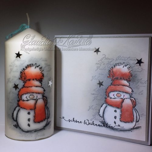 Schöner Weihnachts-Schneemann auf Schrift - rot | Weihnachtskarte & Kerze (Set)