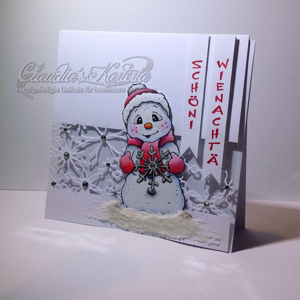 Schöni Wienachtä Schneeflocken-Schneemann | Weihnachtskarte
