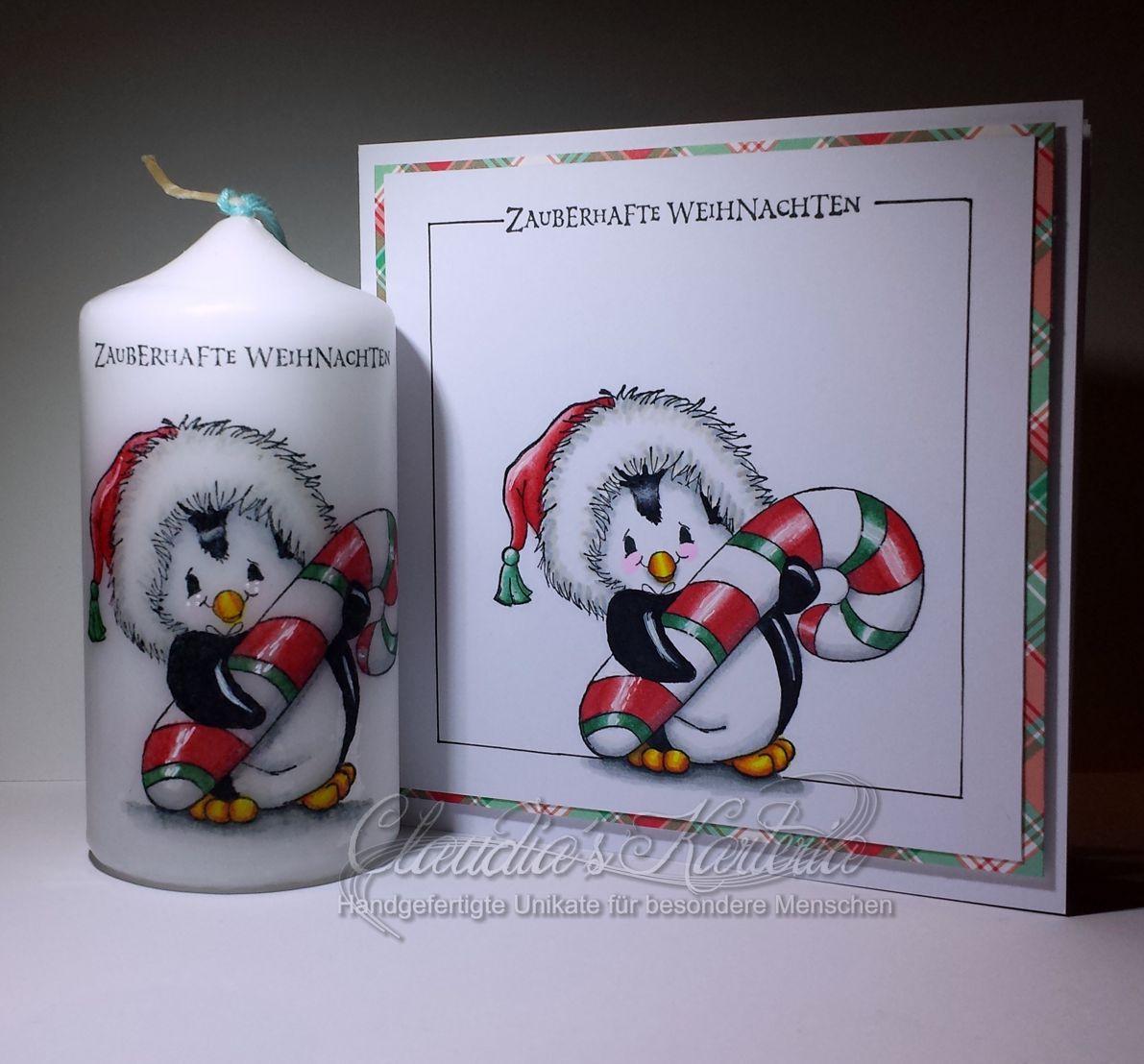 Zauberhafter Zuckerstangen-Punguin zur Weihnacht | Weihnachtskarte & Kerze (Set)