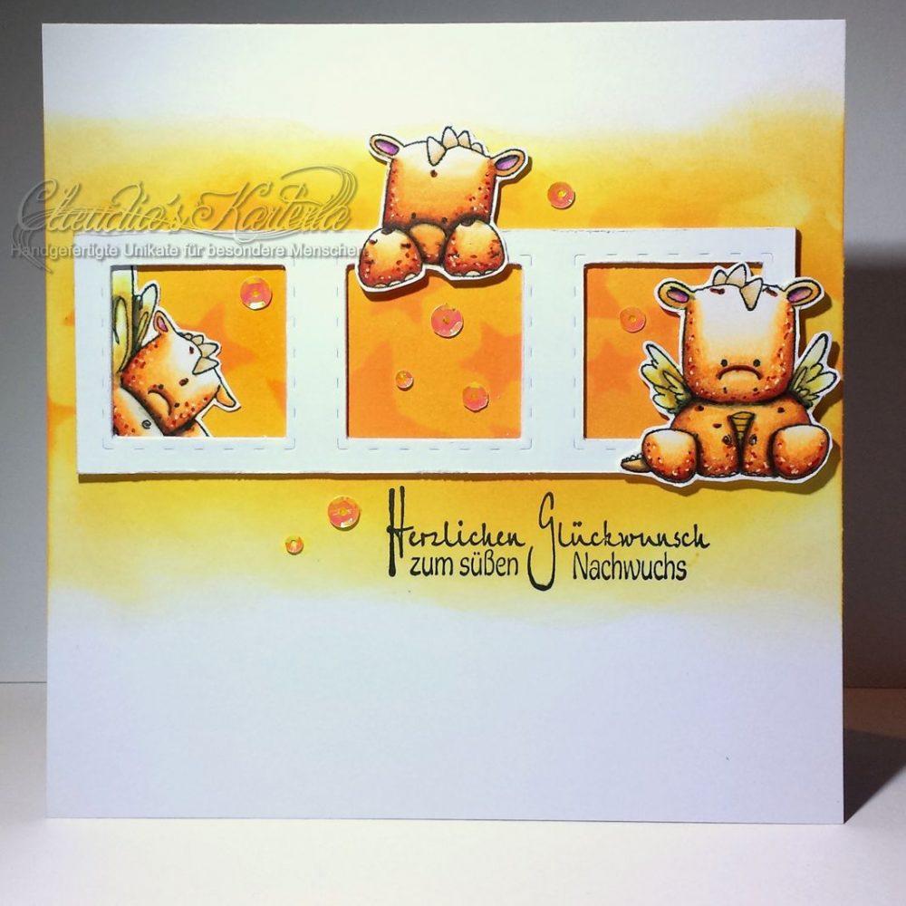 Orange Babydrachen zur Geburt | Geburtskarte