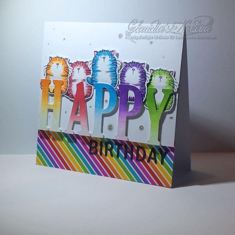 Unikatanfertigung: Buntes Katzen-Happy-Birthday | Geburtstagskarte