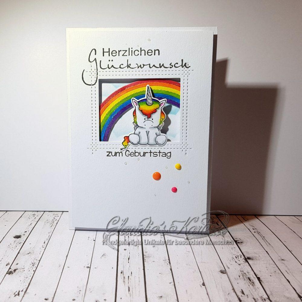Regenbogen-Einhorn zum Geburtstag | Geburtstagskarte