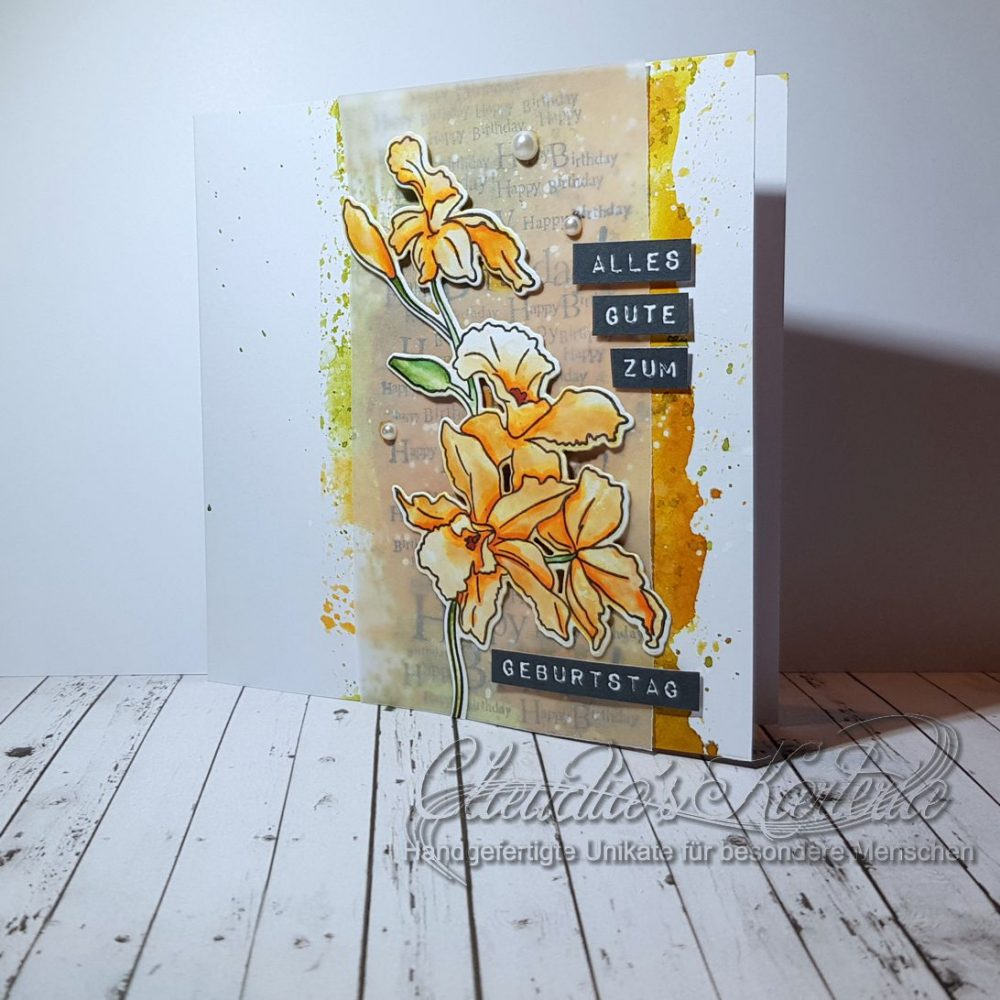 Cattleya auf Aquarell | Geburtstagskarte
