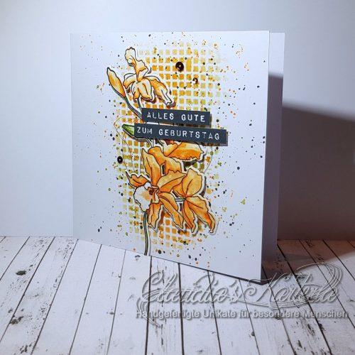 Cattleya auf Gitter | Geburtstagskarte