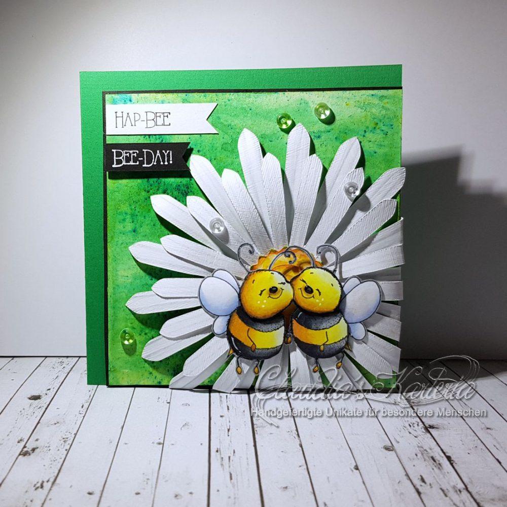 Hap-bee Bienchen auf Margerite   Geburtstagskarte