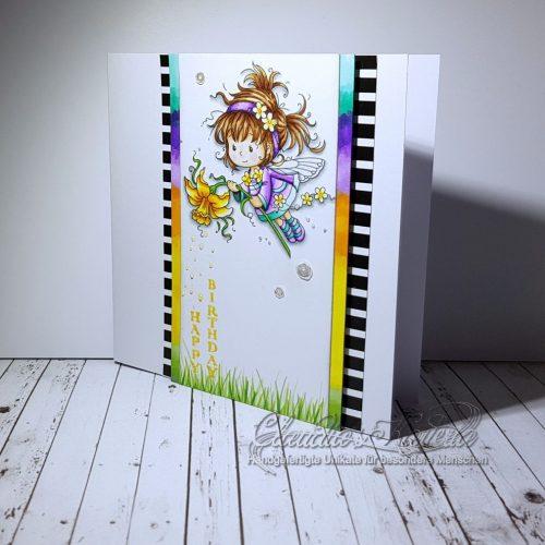 Zaubernarzissen-Elfe zum Geburtstag | Geburtstagskarte