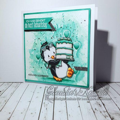 Pinguin's Geburtstags-Cake auf Aquarell türkis | Geburtstagskarte