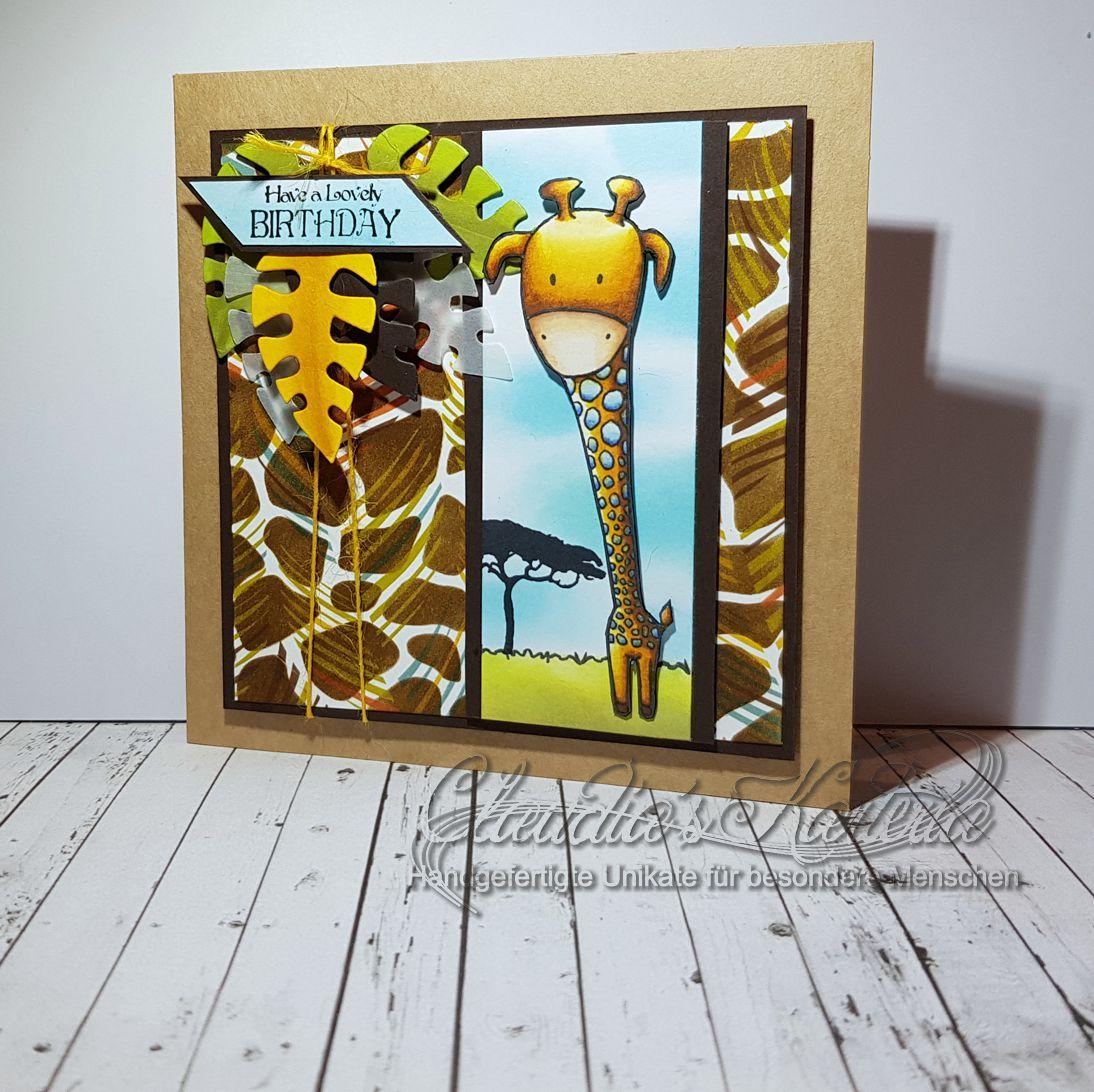 Giraffische Dschungelgeburtstagsgrüsse   Geburtstagskarte
