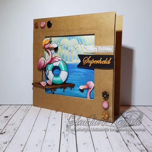 Flamingo-Rettungsschwimmer Superheld | Geburtstagskarte