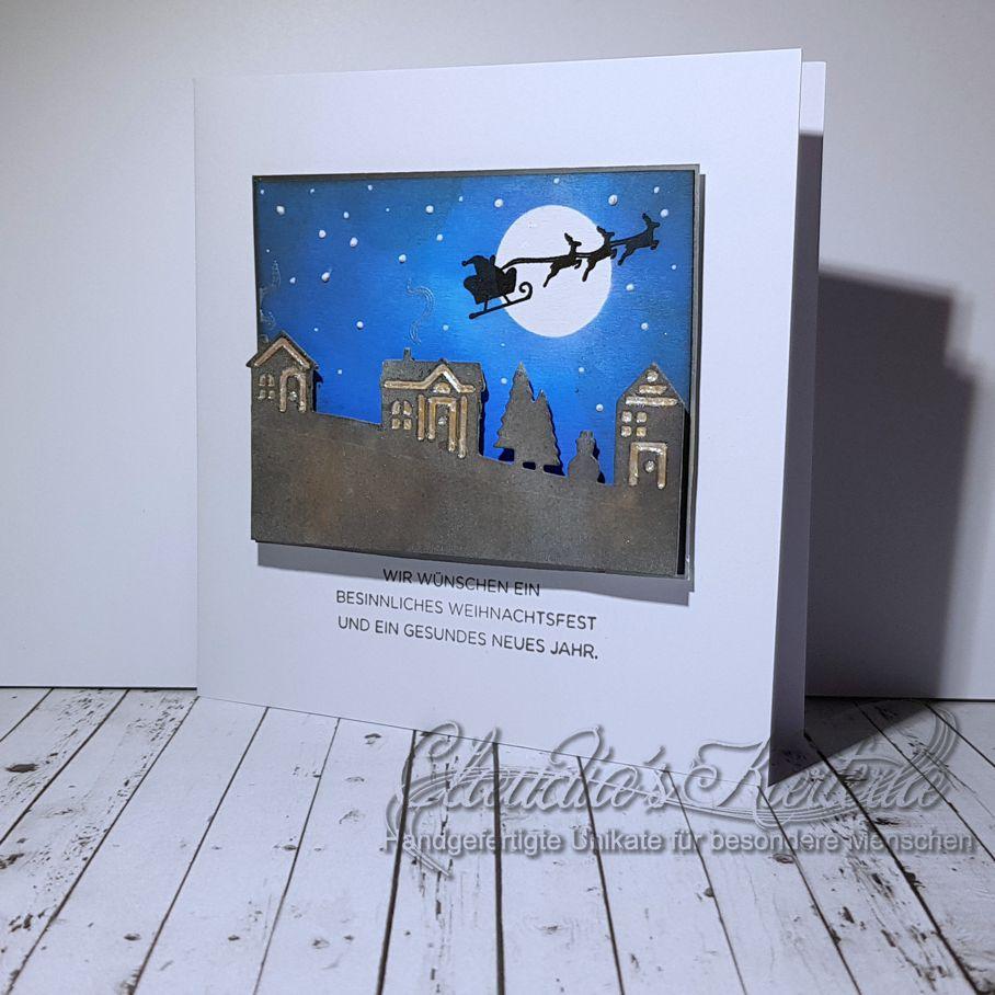 Besinnliches Weihnachtsdorf mit Santabesuch   Weihnachtskarte