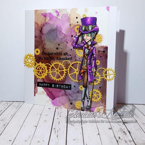 Du bist ein Steampunk-Klassiker auf violett | Geburtstagskarte