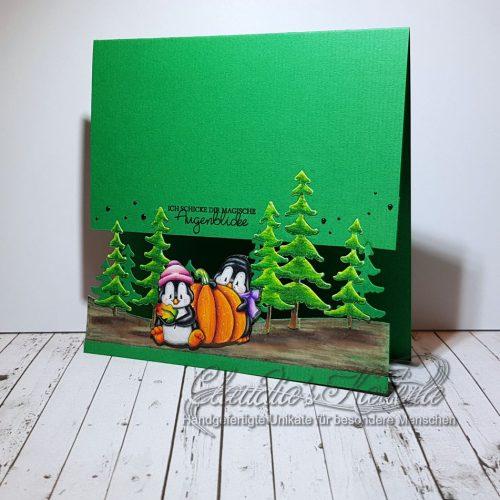 Magische Herbst-Wald-Augenblicke grün | Grusskarte