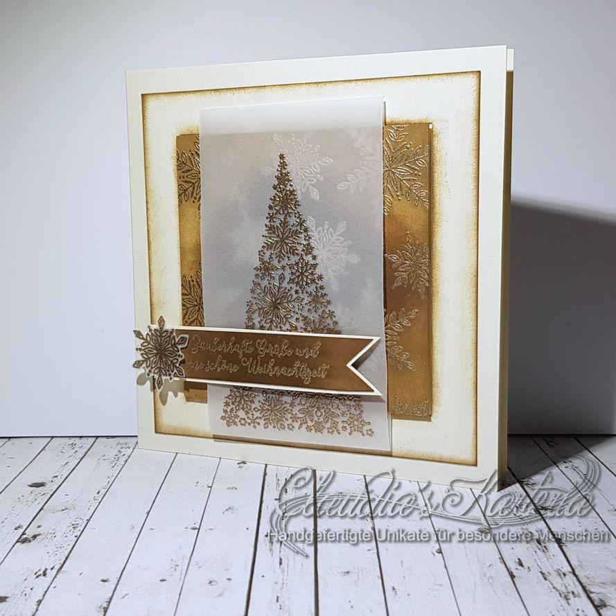 Schneeflockentannenbaum-Vintage-Grüsse | Weihnachtskarte